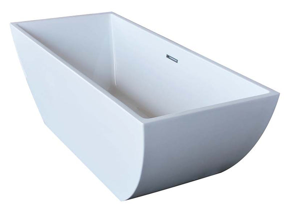 Venzi Vida Collection 30 x 67 Rectangle Acrylic Freestanding Bathtub with Center Drain By Atlantis