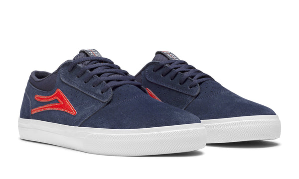 Griffin - Navy/Red Suede