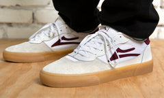 Cambridge - White/Burgundy Leather