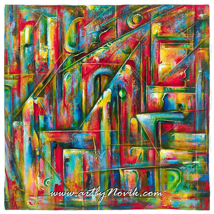 Colorful Abstract Art Bandana by Novik - Secret Entrance