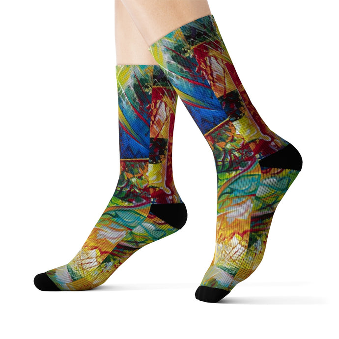 Project of the Planet Sublimation Abstract Art Socks