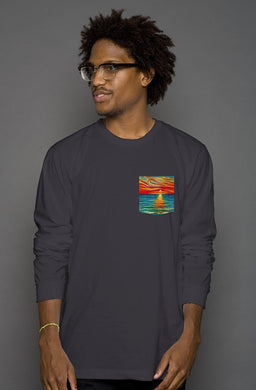 Gift of Sunset Long Sleeve Men's Pocket Tee
