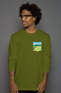 Hunter's Paradise Long Sleeve Men's Pocket Tee