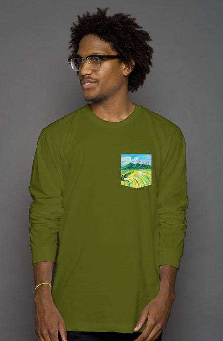 art-by-novik - Hunter's Paradise Long Sleeve Men's Pocket Tee - tshirts