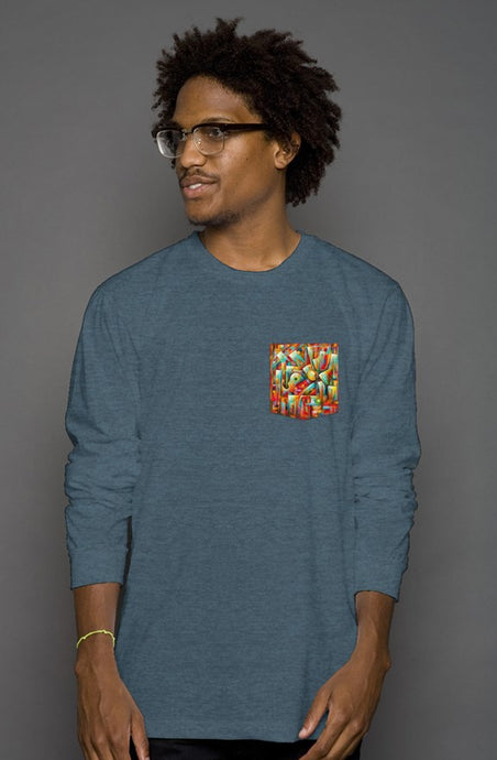 art-by-novik - Music in the City Long Sleeve Pocket Tee - tshirts