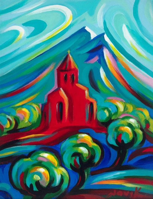 art-by-novik - (14X11) Red Church on Traditional Stretched Canvas -