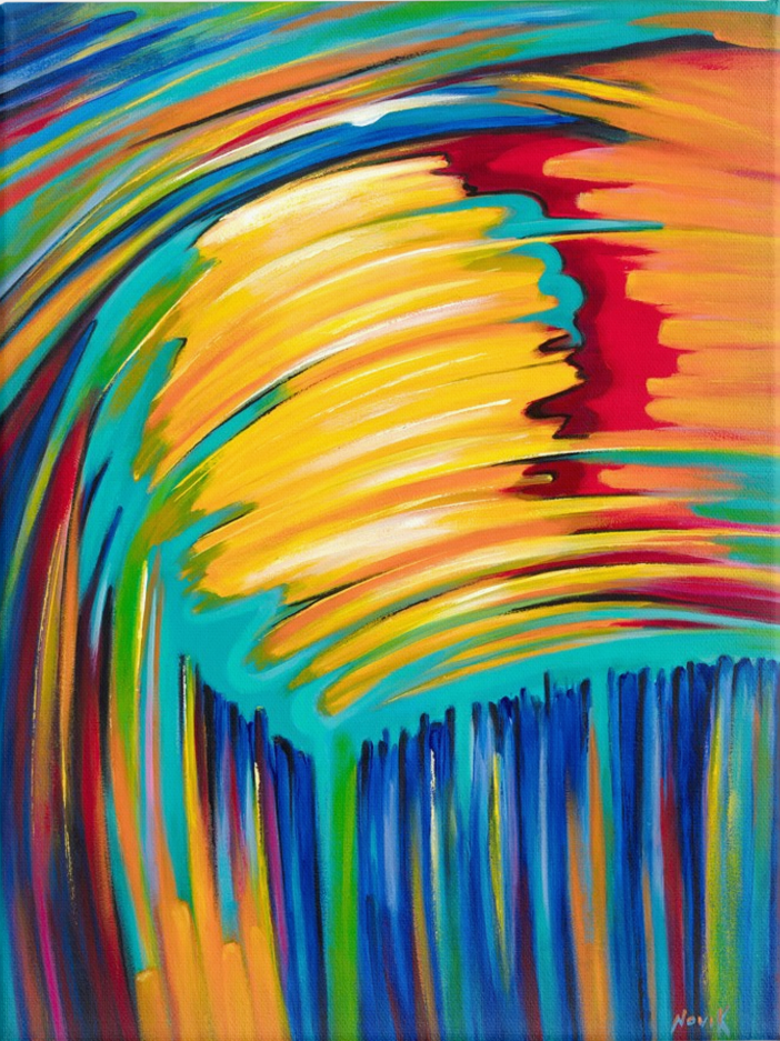 art-by-novik - (40X30) Reflection of the Sun on Traditional Stretched Canvas -