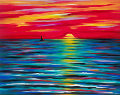 (40X50) Red Sunset on Traditional Stretched Canvas