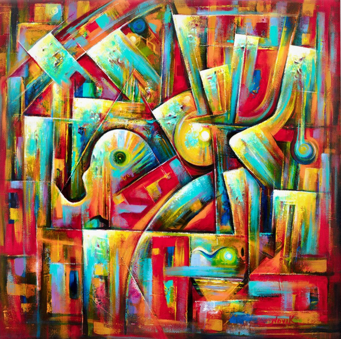 art-by-novik - (48X48) Music in the City on Traditional Stretched Canvas -