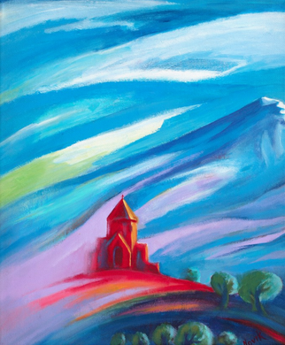 (24X20) Red Church #1 on Traditional Stretched Canvas