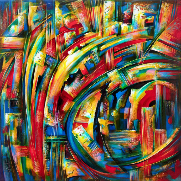 art-by-novik - (48X48) Turbulence of Ideas on Traditional Stretched Canvas -