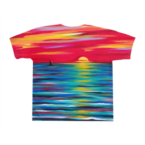 art-by-novik - Red Sunset on All-Over Print T-Shirts -