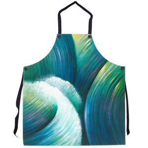 art-by-novik - Rebellious Element Apron - abstract expressionism art water waves contemporary