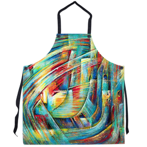 art-by-novik - Fantastic Castle Apron abstract expressionism art contemporary