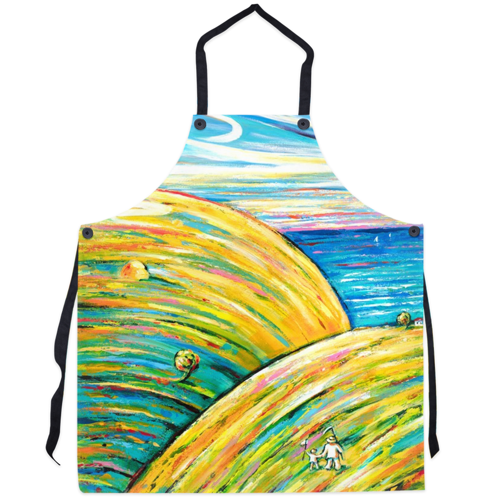 art-by-novik - Piece of Paradise Apron - abstract expressionism art contemporary