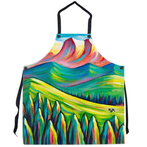 art-by-novik - Somewhere Far Apron - abstract expressionism art mountain trees hills contemporary