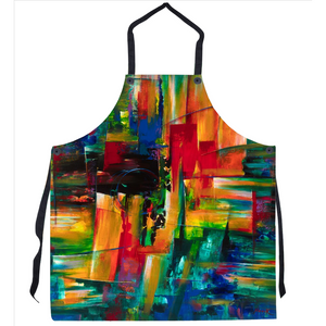 Kitchen Apron with Abstract Expressionist Art by Novik