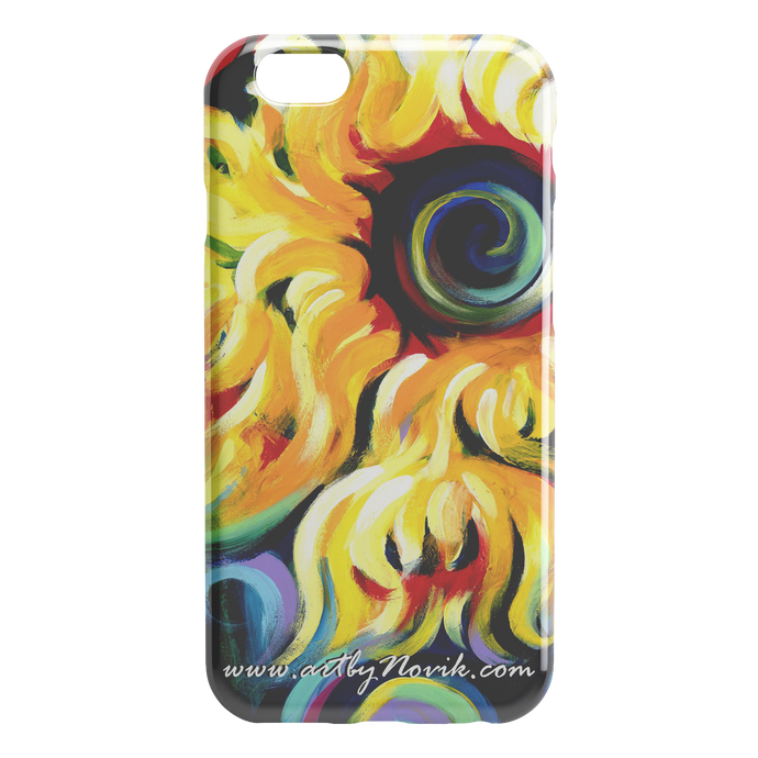 Phone Case Sunflower Expressionist Art by Novik - Eye of the Sun $