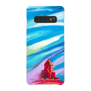 Phone Case Sacred Art Expressionist Landscape by Novik - Red Church #3