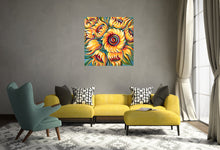 Load image into Gallery viewer, Sunflower painting by Novik Expressionism on Living Room wall