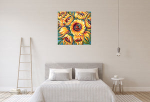 Sunflower painting by Novik Expressionism on bedroom wall