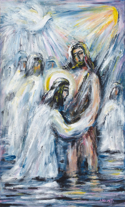art-by-novik - (30X17) Baptism on Traditional Stretched Canvas -