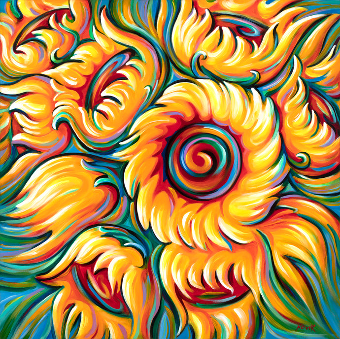 Novik Children of the Sun is an original sunflower painting by Art by Novik.  Novik is a Southern California artist made famous by his long-time presence on Venice Beach.  Novik paints in bright, vibrant colors in his unique abstract and abstract expressionist style.