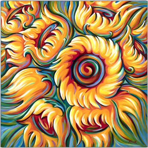 Sunflower painting by Novik Expressionism