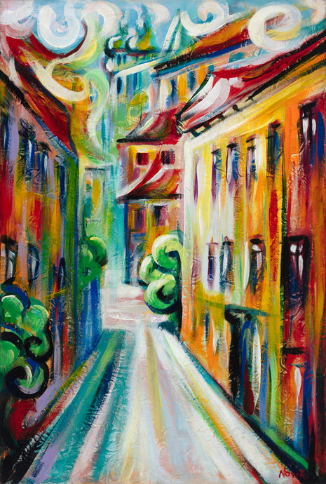 art-by-novik - (30X20) City of the Past on Traditional Stretched Canvas -