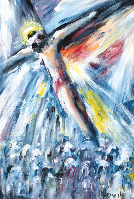 art-by-novik - (12X8) Crucifixion on Traditional Stretched Canvas -