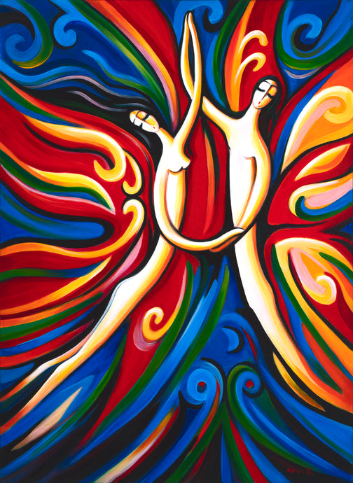art-by-novik - Dance of Love canvas print on Traditional Stretched Canvas (original: 32