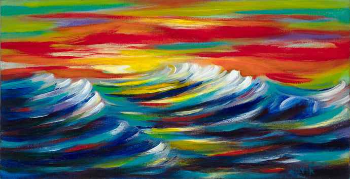 art-by-novik - (12X24) Evening Waves on Traditional Stretched Canvas -