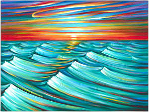 "(30"" X 40"") Evening Waves (Original Painting - acrylic on canvas) - $7,000"