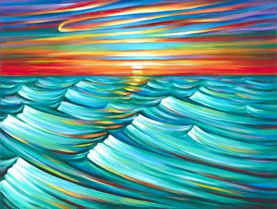 Evening Waves canvas print on Traditional Stretched Canvas (original: 30