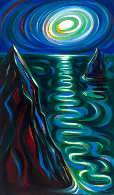 (30X17) Fantasy of the Night on Traditional Stretched Canvas