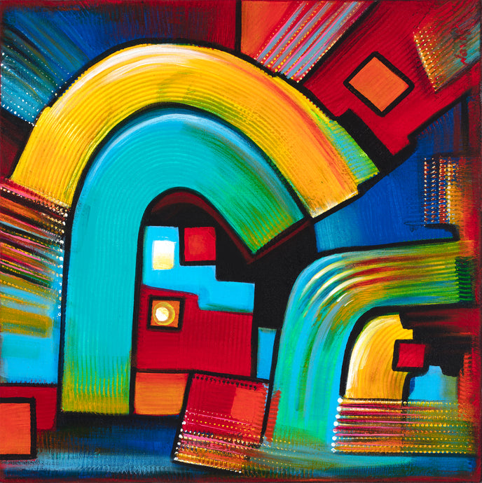 art-by-novik - (24X24) Gates of Discovery on Traditional Stretched Canvas -