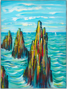 "art-by-novik - (24"" X 18"") Guardians of the Sea (Original Painting - acrylic on canvas) - $2,400 -"