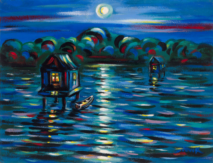 art-by-novik - (23X30) Life on the Lake on Traditional Stretched Canvas -