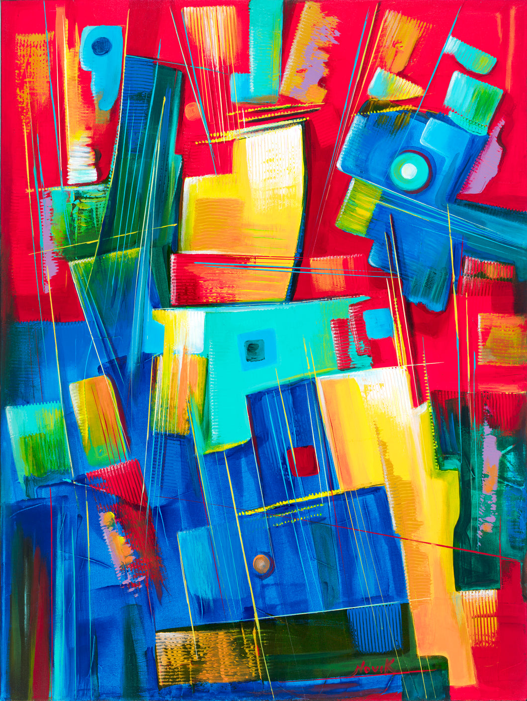 Mechanical Romance is an original painting by Art by Novik.  Novik is a Southern California artist made famous by his long-time presence on Venice Beach.  Novik paints in bright, vibrant colors in his unique abstract and abstract expressionist style. Prints on canvas and other materials are available for sale on this site.