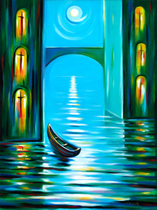 art-by-novik - (40X30) Moon Serenade on Traditional Stretched Canvas -