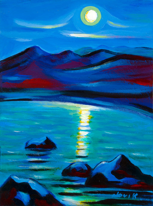 art-by-novik - (16X12) Moon Talk on Traditional Stretched Canvas -