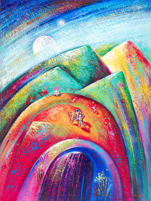 art-by-novik - (40X30) Planet Party on Traditional Stretched Canvas -