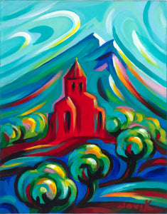 "art-by-novik - Red Church canvas print on Traditional Stretched Canvas (original: 14"" X 11"") -"