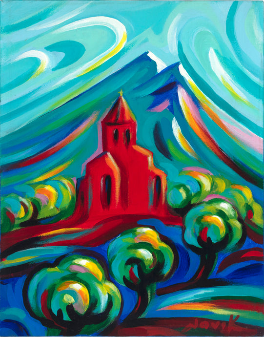 art-by-novik - Red Church canvas print on Traditional Stretched Canvas (original: 14