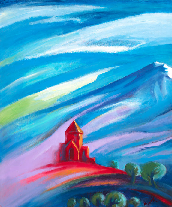 art-by-novik - Red Church #1 canvas print on Traditional Stretched Canvas (original: 24