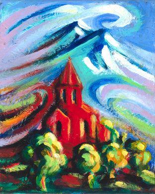 Red Church #2 canvas print on Traditional Stretched Canvas (original: 8
