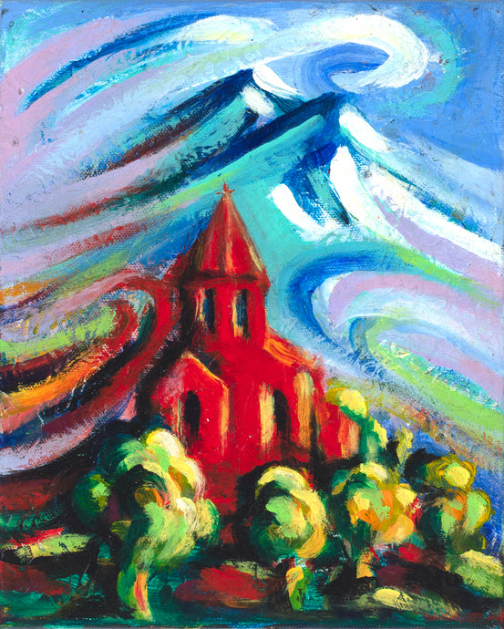 art-by-novik - Red Church #2 canvas print on Traditional Stretched Canvas (original: 8