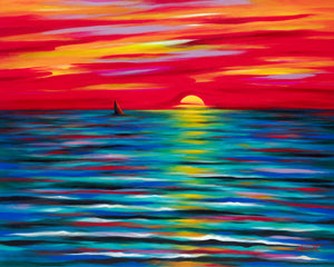 Red Sunset (24X30) on Traditional Stretched Canvas