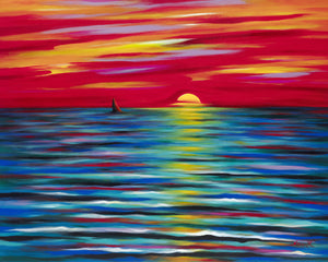 Novik Red Sunset is an original painting by Art by Novik.  Novik is a Southern California artist made famous by his long-time presence on Venice Beach.  Novik paints in bright, vibrant colors in his unique abstract and abstract expressionist style.