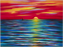 "Load image into Gallery viewer, Red Sunset canvas print on Traditional Stretched Canvas (original: 40"" X 50"")"